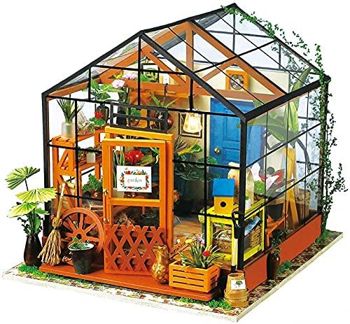 MWKL Lujoso Kit de casa de muñecas de Madera, casa en Miniatura de Madera DIY 3D sin protección contra el Polvo, Modelo de casa ensamblada con Luces LED, Mini Invernadero