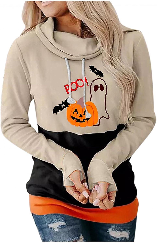 Halloween Hoodies for Women, Womens Funny Pumpkin Ghost Print Sweatshirts Long Sleeve Drawstring Hoodie Tops