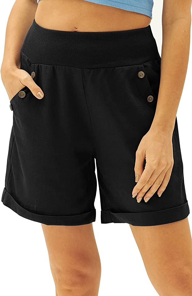 Women's Summer Shorts Casual Cotton Linen Shorts Bermuda Elastic Solid Button Down Beach Hot Pants with Pockets