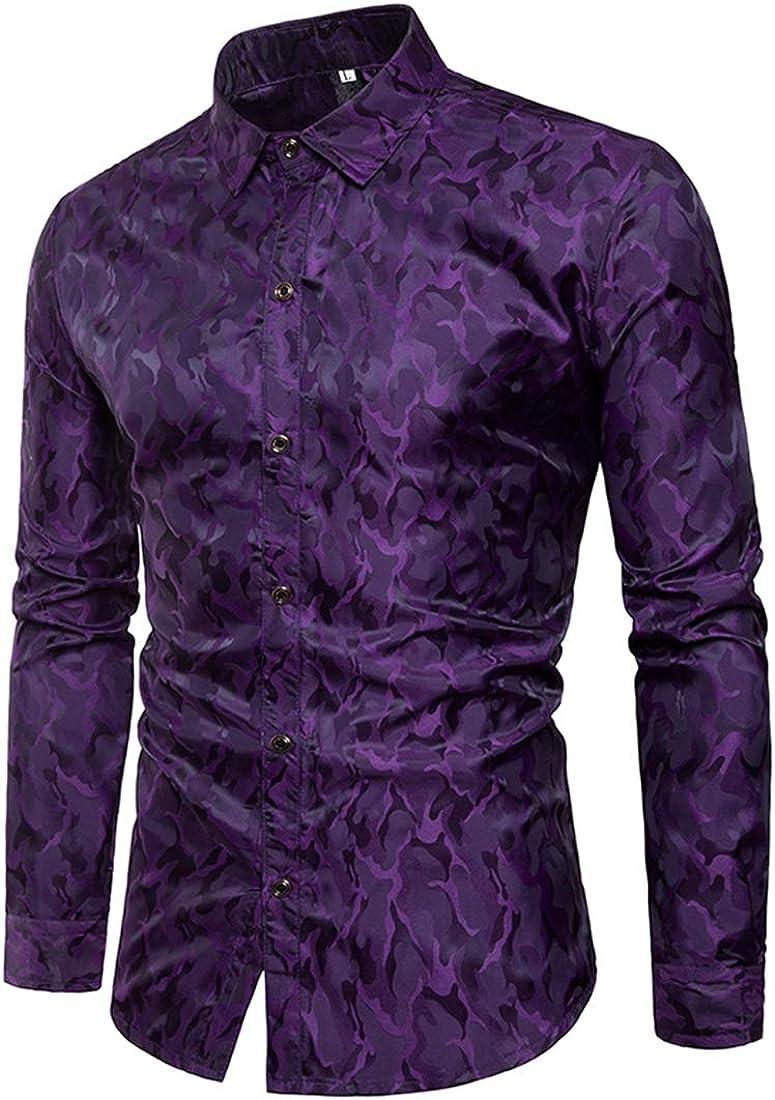 Sushine Mens Shinny Long Sleeve Dress Shirt Casual Slim Fit Button Down Shirts S-XXXL