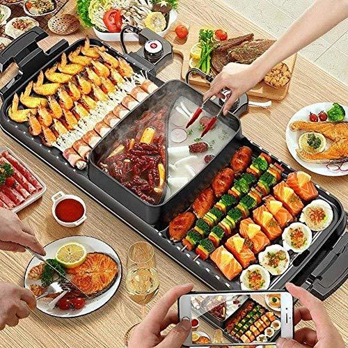 JZH-Wine Set elektrische grill 2-in-1 fondue anti-aanbaklaag multifunctionele bakplaat 2200 W geschikt voor 2-12 personen Ideaal voor een familiebijeenkomst of een feestje