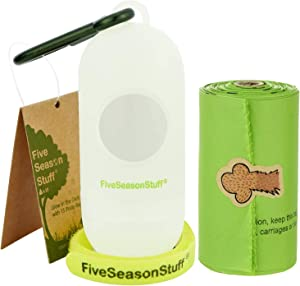 FiveSeasonStuff Biodegradable Poop Bags for Dogs Zero Waste Compostable Dog Waste Bags Highest Rated ASTM D6400 Very Strong Leak-Proof for Large Dogs Puppy Cats
