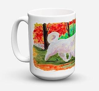 Caroline's Treasures SS8472CM15 Great Pyrenees Microwavable Ceramic Coffee Mug, 15 oz, Multicolor