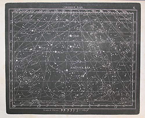 Grosser Bär - Großer Bär Drache Krebs Jagdhunde Kupferstich Himmelskarte Sternenkarte Sternkarte Sternzeichen Tierkreiszeichen Star chart Astrolocial sign