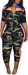 f265f7d4c9010 Women Plus Size Camouflage Half Sleeve Casual Set, Women Top and Pants Set  Two Piece