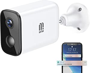 MTM Wireless Outdoor Security Camera Rechargeable Battery Powered WiFi Surveillance IP Camera 1080P Home Security with Night Vision, PIR Motion Detection, 2-Way Audio, IP66 Waterproof