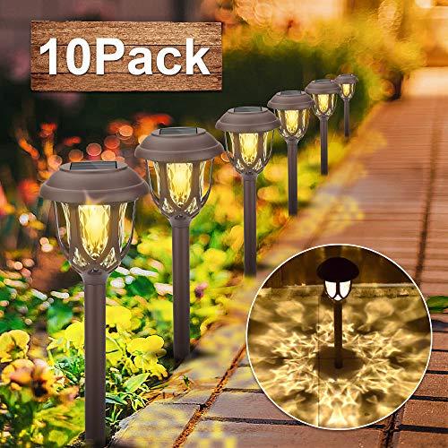 Vivibel Solarleuchte Garten, 【10 Pack】 warmweiße Solar Licht Garten Dekoration wasserdichte Solarlampen für außen, Garten, Rasen, Patio
