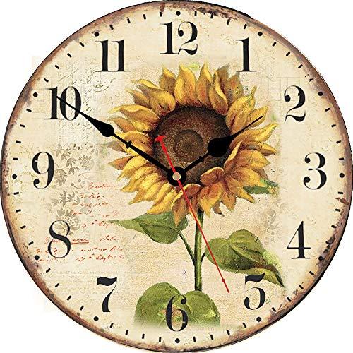 VIKMARI Estilo Decorativo Relojes de Pared Flores Vintage Floral de Madera Redondo Reloj de Pared 8 Inch Girasol