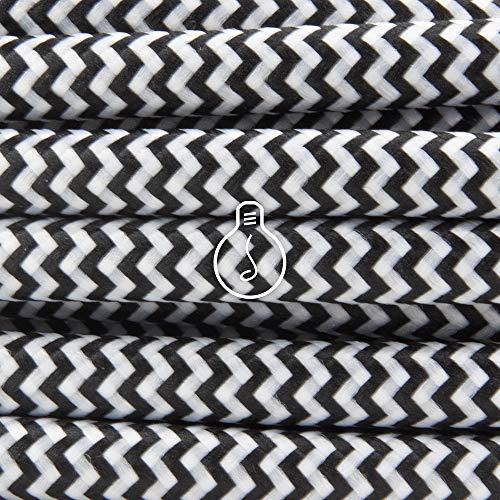 Amarcords - Cable de tela color BLANCO-NEGRO ZIG-ZAG, redondo, seda, 10 metros, con tierra 3x0,75 - Hilo eléctrico textil de color estilo clásico para lámparas bricolaje y iluminación vintage.