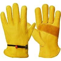 CCBETTER Tape Wrist Wear Resistant Cowhide Gardening Gloves