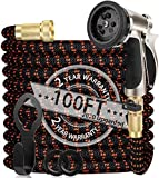WGCC Expandable Garden Hose, 100ft Heavy-Duty [4 Layers Latex] 5-in-1 Water...
