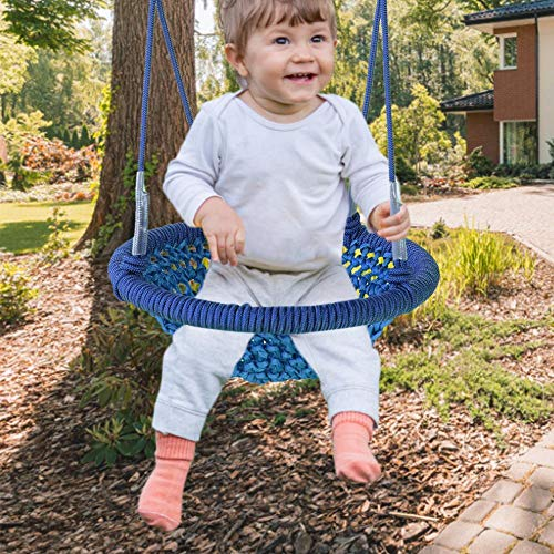 Rita665Jimmy – Columpio para niños, 120 cm, con forma de nido de pájaros, para niños, 150 kg de carga máxima, silla mecedora para jardín, patio trasero e interior