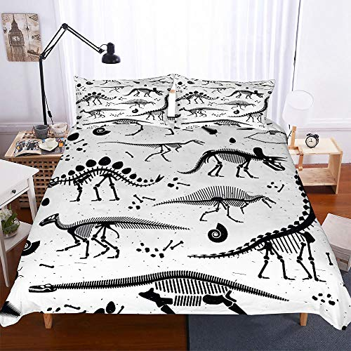AHJJK Duvet cover set 79 x 79 inchWhite dinosaur skull 3D Printed Microfiber Bedding Duvet Cover with 2x Pillowcases & Zipper Closure Quilt Case for Boy Girl Single Double King Bed