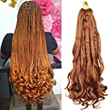 20 Inch Loose Wavy Braiding Hair For Black Women 8 Packs Yaki Texture French Curly Braids Extensions 75g/pack (20 inch, 30#)