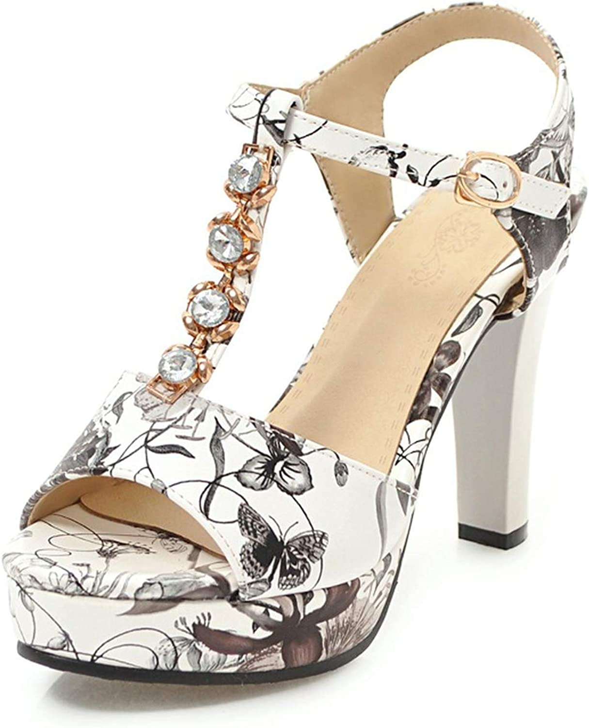 Floral Printing Trendy T-Strap Women Sandals shoes Fashion Party Sandal