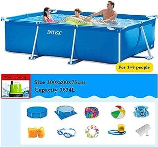 Rectángulo Azul Piscina, Soporte extraíble Inicio Capacidad Alta Resistencia Ninguna Fuga Buena tenacidad, para Patio, Garden Beach - 1-10 Personas,300x200x75cm