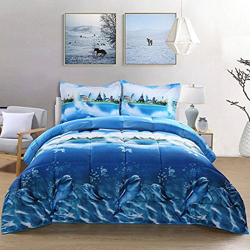 7 Piece Set Goose Down Alternative Comforter 3D Dolphin Print Wrinkle,Fade Resistant Egyptian Cotton Quality Ultra Soft Matching 4-Piece Bed Sheet Set ,Flat and Fitted Sheet Pillow Case Queen