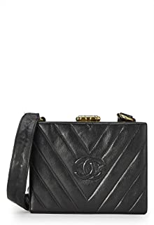 CHANEL Black V Quilted Lambskin Box Bag (Pre-Owned)