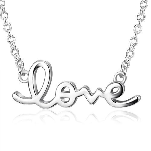 9d4c558c75c7c2 Cursive Love Necklace | 925 Sterling Silver