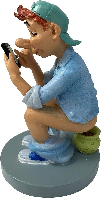 Caganer Figura , Figura decorativa con movil con maceta de noche, diseño divertido e ironico