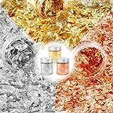 3 botella Dorado en escamas 9g, Copos de oro, plata y oro rosa, Láminas de láminas metálicas en escamas para resina, decoración de uñas y manualidades