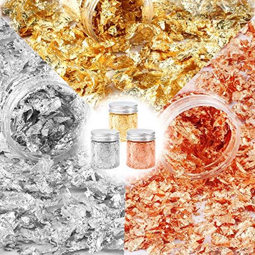 Huahao Gold Leaf Blätter Blattgoldes Blattgold Imitation 3Pcs Blattgold Flake Vergoldung Flocken für Nägel Malerei Kunsthandwerk Kunstprojekt Vergoldung Handwerk Dekoration DIY Möbel Möbel Dekoration