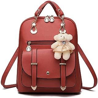 Fashion Women's Backpack, Pu Leather Anti-Theft Mini Stylish Trendy Waterproof Satchel Backpack Suckrack,Functional Small Casual Ladies Handbag Girls School Bag with Charm Bear Toy Decor.