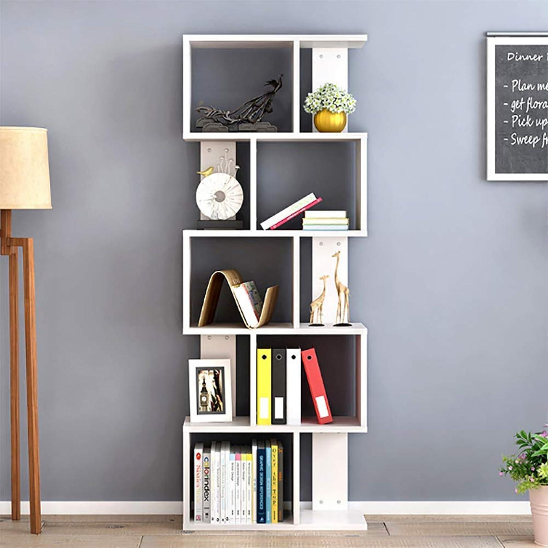 MDF Bookcase 5 Tier Shelves S Shape Bookshelf Free Standing Shelving Storage Display Unit Detachable (Self Assembly) 60  24  128Cm