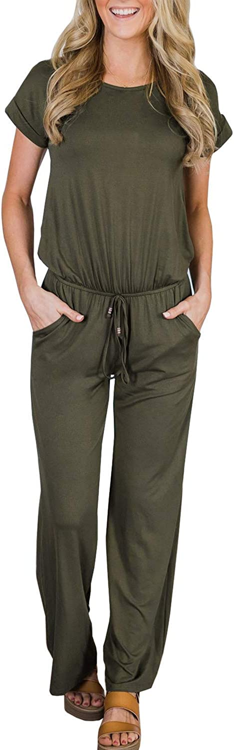 Womens Casual Short Sleeve Jumpsuits Loose Wide Leg Long Pants Drawstring Rompers with Pockets