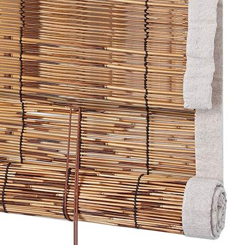 Jcnfa-Roller Blind Doek Edge Roller Shades - Natuurlijke Bamboe Rolgordijnen - Rieten Roll Up Shades - Verduisteringsgordijnen - Chinese Retro stijl, Binnen/buiten Decoratie, Aanpasbaar