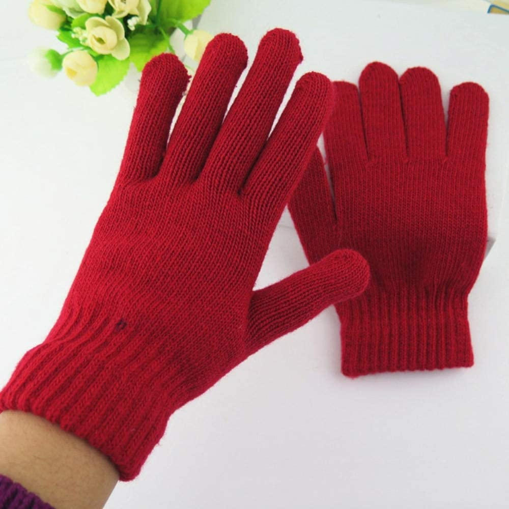 New Women Warm Winter Knitted Full Finger Gloves Mittens Girl Female Solid Gloveses Girl Female Stretch Warmer Accessories - (Color: Pink)