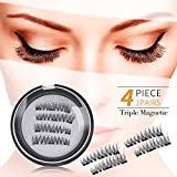 AD Corp - NEW Triple Magnetic Ultra lightweight Full Size Reusable False Eyelashes Set (4 pieces), 3D multi layer Fake lashes for natural look, No glue required and Easy to apply