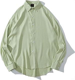 Camisa de Bolsillo de Manga Larga de Ajuste Regular para Hombre Camisa de Color sólido de Pareja Suelta Coreana de Manga L...