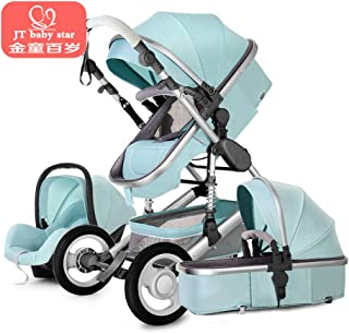Luxury Baby Stroller 3 in 1 High Landscape Pram Foldable Pushchair & Car Seat Mainstream Color Black Gray 0 to 3 Years Old (Green)