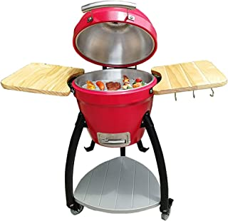 "16"" Kamado Grill, Roaster and Smoker, BBQ Grill, Barbecue Grill with Built in Thermometer, Removable Wheels, Egg Outdoor K..."