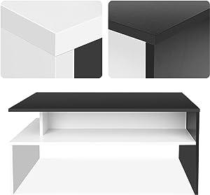 HOMFA Tavolo Salotto da Caffè Tavola Salotto in Legno, Tavolino con colore della Nero e Bianco con 3 pieni di spazio, Disegno Elegante e Moderno e Funzionale del Soggiorno 90×54×42CM