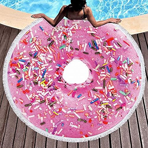 Redonda Toalla De Playa De Microfibra Grande Donut Postre Dulces Alimentos, Manta Beach Suave Seque Rápidamente Esterilla De Yoga Mantas para Pícnic Tapices Decorativos Regalo 150cm