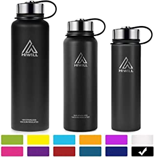 Hiwill Stainless Steel Insulated Water Bottle 50oz(2 Lids), Cold 24 Hrs Hot 12 Hrs, Double Wall Vacuum Thermos Flask, Travel Sports Leak Proof Bottle with Metal Strainer, BPA Free
