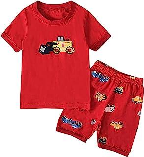 🌸Hot!!Toddler Kids Boys Cartoon Car Print T-shirt Tops+Shorts Pajamas Outfits MS-SM Infant Baby Cute Fashion Short Sleeve O-neck 2Pcs for 1Y-7Y