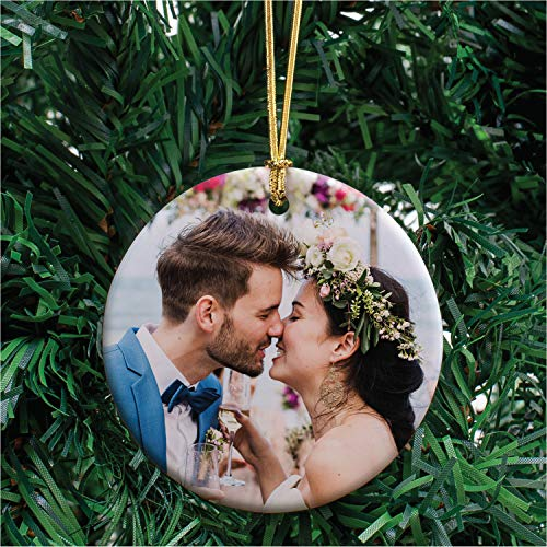 Personalized Photo Christmas Ornament w/ Any Picture, Upload Any Photo - Optional Text - Keepsake - Custom 3' Ceramic, Round 2020 Xmas Ornament, Decoration Gift for Couples, Family