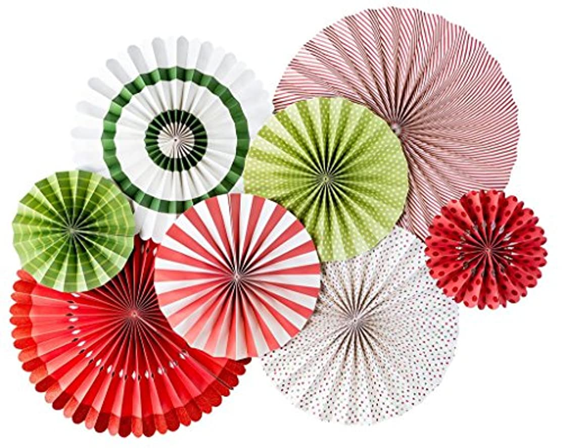My Mind's Eye - Fancy Holiday Double-Sided Paper Party Fans - 8 Count - Decorations