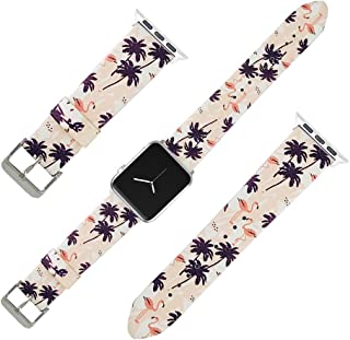 Replacement Band Compatible iWatch 42mm/44mm PU Leather Strap Wrist Compatible Apple Watch Series 4 3 2 1 Sport Edition Nike+ (Flamingo Tree, 42mm/44mm)