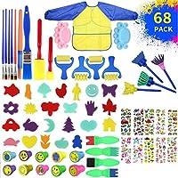 Zzlush 教育玩具 68ピースDIYペインティングキットスポンジ絵画ブラシキット早期学習キッズペイントセットローラースポンジブラシ子供エプロンプレイプレゼント (Color : Multicolor)