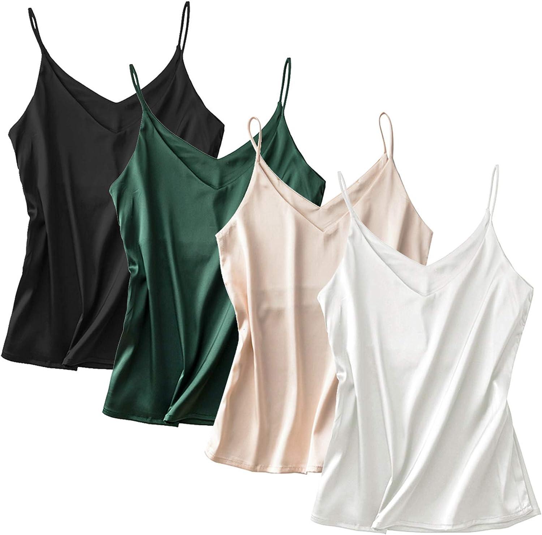 Anbenser Silk Tank Tops for Women Satin Camisoles V Neck Spaghetti Strap Cami Sleeveless Blouses 4 Pack