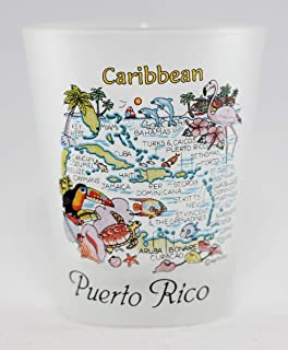 Puerto Rico Caribbean Map Frosted Shot Glass Lpco