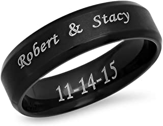 Forevergifts 7mm Stainless Steel Beveled Edge Brushed Center Ring - Free Engraving