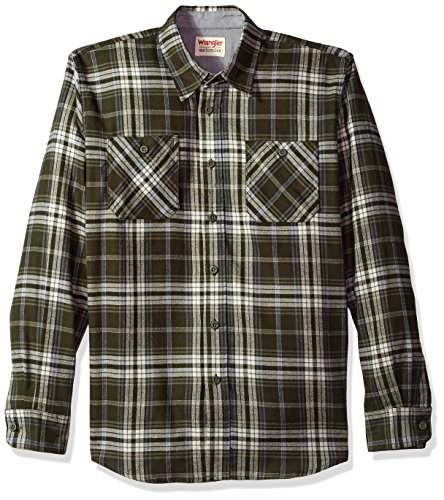 Wrangler Authentics Men's Long Sleeve Flannel Shirt, rosin, Medium