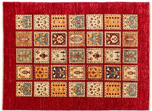 Lifetex.eu Teppich Samarkand ca. 150 x 200 cm Rot handgeknüpft Schurwolle Modern hochwertiger Teppich