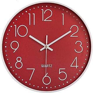 HOMEMOM 掛け時計 おしゃれ 連続秒針 静音 クオーツ 壁掛け時計 部屋 インテリア シンプル 壁掛時計 立体数字 キッチン 30cm(レッド)