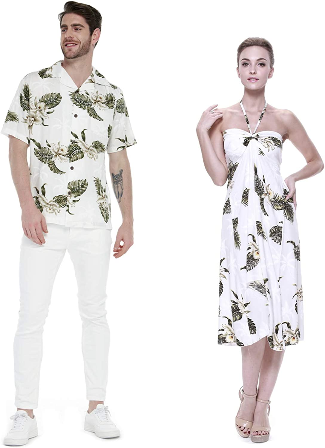 Couple Matching Hawaiian Luau Party Outfit Set Shirt Dress In Palm Green At Amazon Men S Clothing Store